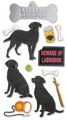 Jolees 312335 Jolees Boutique Le Grande Dimensional Sticker-Labrador Retriever-Black - Pack of 3