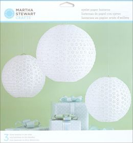 Doily Lace Paper Lanterns Kit - Makes 3-White Eyelet
