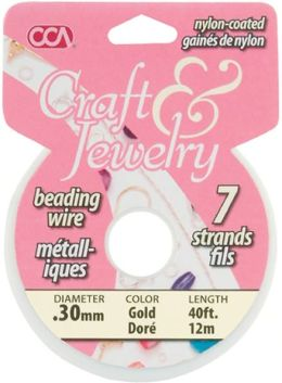 Craft & Jewelry 7-Strand Beading Wire .3mm 40ft/Pkg-Gold