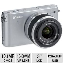 Nikon 1 J1 10MP Digital Camera & 10-30mm Lens - 10.1MP, 3.0 LCD, CMOS