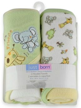 Triboro Just Born Knit Hooded Towel, Jungle Friends Neutral