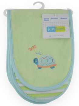 Triboro Just Born 3 Pack Burp Cloth Knit Terry, Neutral