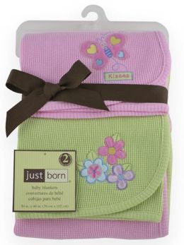 Triboro Just BornThermal Blanket, 2 Pack Pink Butterfly & Sage Flower Applique