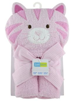 Triboro Just Born Character Hooded Towel, Woven Terry Kitty