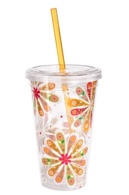 Patterned Floral 16 oz. Insulated Tumbler with Straw