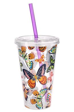 Summer Butterflies 16 oz. Insulated Tumbler with Straw
