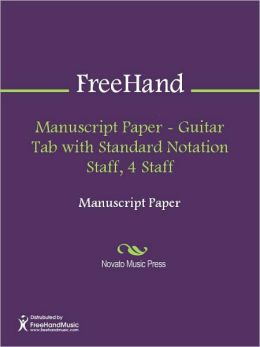 Manuscript Paper - Guitar Tab with Standard Notation Staff, 4 Staff