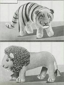 Lion and Tiger Stuffed Toy Knitting Patterns - Vintage Stuffed Toy Patterns for Lion and Tiger