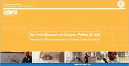 National Summit on Campus Public Safety: Strategies for Colleges and Universities in a Homeland Security Environment