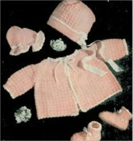 Crochet a Pink and White Set for Baby Pattern - Vintage Baby Pattern to Crochet a Sacque, Mittens, Booties and a Hat