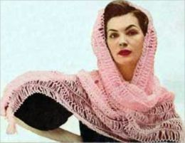 Vintage Homemade Crocheted Shawls Plus Illustrations on How to Crochet