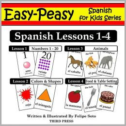 Spanish Lessons 1-4: Numbers, Colors/Shapes, Animals & Food (Learn Spanish Flash Cards)