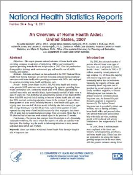 An Overview of Home Health Aides: United States, 2007