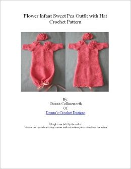 Pink Flower Infant Sweet Pea Outfit or Pajamas Crochet Pattern