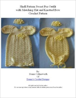 Yellow Shells Sweet Pea Outfit w Matching Hat & Knotted Ribbon Bow Crochet Pattern