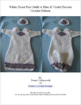 Lilac Flowers On White Sweet Pea Infant Sleeper Crochet Pattern