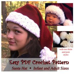 Susan's Santa Hat with Two Brim and Pom Styles in All Sizes