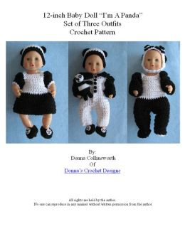3 Panda Theme Outfits For 12-inch Baby Dolls Crochet Pattern