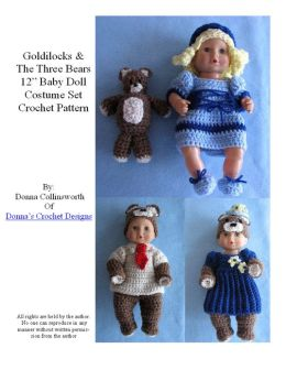 Goldilocks and the Three Bears Costume Set for 11-12-inch Baby Dolls Crochet Pattern
