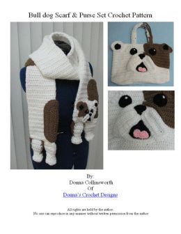 Bull Dog Scarf and Tote Crochet Pattern Set