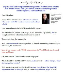 Top 10 risk and compliance management related news stories and world events that (for better or for worse) shaped the week's agenda, and what is next - Monday, April 8, 2013