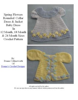 Spring Flowers Baby Dress and Jacket Crochet Pattern