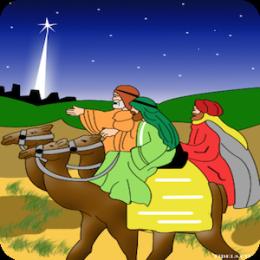 Three Wise Men visit Baby Jesus