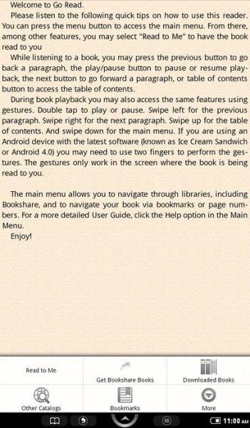 Pantalla de Go Reader en un teléfono Android mostrando un fragmento de texto