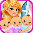 Product Image. Title: Newborn Triplets Baby Care - Mommy Pregnancy Games