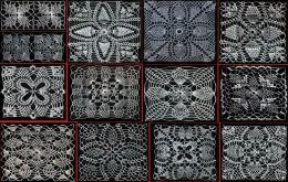 Corredores de ganchillo, colchas, cubiertas de la silla, brazo descansa y más con Vintage Crochet piña plazas patrones Crochet libro