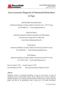 Socio-economic Diagnosis of Ornamental Horticulture in Togo