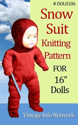 Snow Suit Knitting Pattern For 16-Inch Doll / Doll Knit Pattern 16