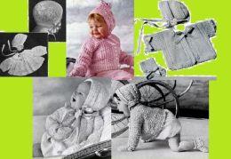 ¡ MIRA! Crochet patrones para conjuntos de bebé con capuchas