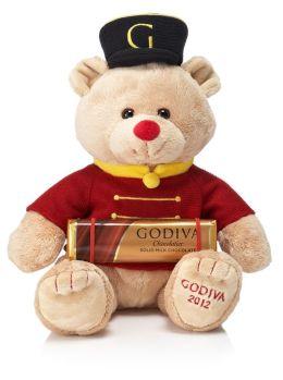 Godiva Drummer Bear Gund® Plush with Solid Milk Chocolate Bar