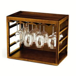 Cube-Stack Wine Glass Rack in Walnut Stain