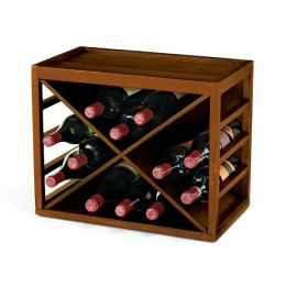 12 Bottle X Cube-Stack Wine Rack in Walnut Stain