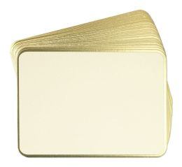 Ecru Rounded Dinner Cards in Gold