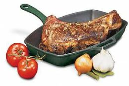 Chasseur Red Rectangular Grill - Cast Iron Handle
