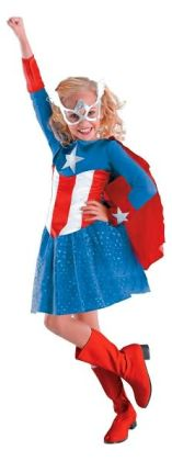 Captain America Girl Classic Toddler/Child Costume: Size Small (4-6X)