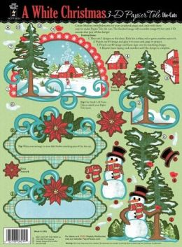 Hot Off The Press 123321 3-D Papier Tole Die-Cuts-White Christmas - Pack of 4