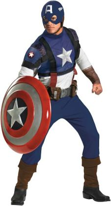 Captain America Movie - Captain America Prestige Adult Costume: Plus Size (50-52)