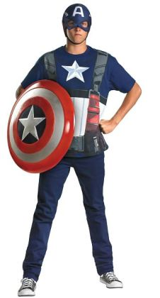 Captain America T-Shirt And Mask Adult Costume Set: Standard/Plus Size (42-52)