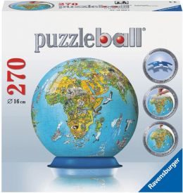 Illustrated World Map 270 Piece Puzzleball