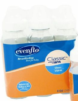 Evenflo Clear Glass Nurser 8 Ounce 3 pack
