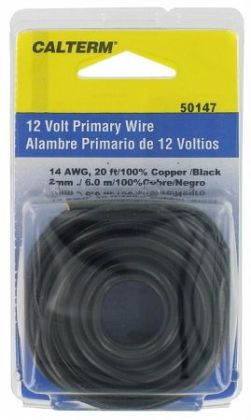 Calterm Automotive 20ft. Black 14 Gauge Primary Wire 50147