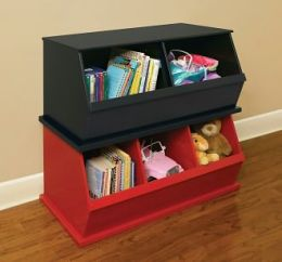 Three Bin Storage Cubby - Red