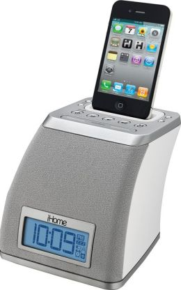 iHome iP21 Spacesaver Alarm Clock for iPhone and iPod - White