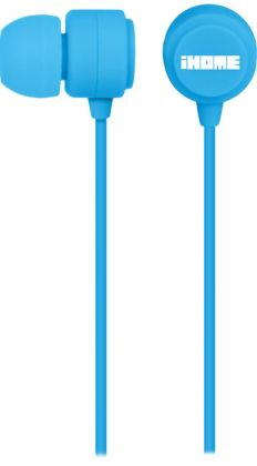 iHome iB22L Rubberized Noise Isolating Earphones with Pouch - Blue