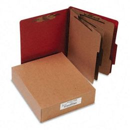 Acco 15038 Pressboard 20-Point Classification Folder Ltr 8-Section Earth Red 10/bx