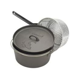 Barbour 7412 Bayou Classic 12 Quart Cast Iron Dutch Oven With Dutch Oven Lid And Perforated Aluminum Basket